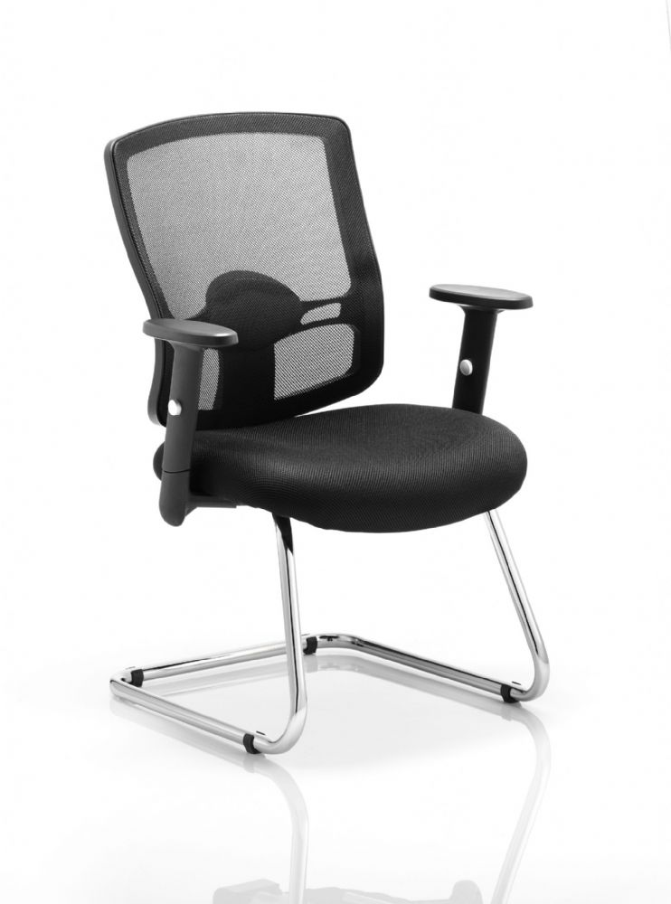 Portland Cantilever Meeting Chair Adjustable Arms Chrome Frame Mesh Back Seat Pad choice of Colours